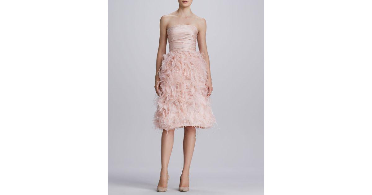 44f5144ab146 Oscar de la Renta Strapless Organza Feather Dress in Pink - Lyst