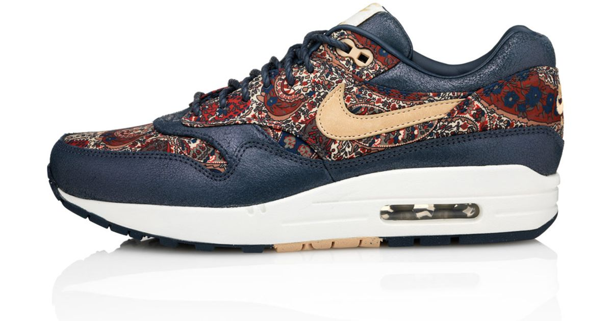 sports shoes 7638f 5285b Nike Navy Bourton Liberty Print Air Max 1 Trainers in Blue - Lyst