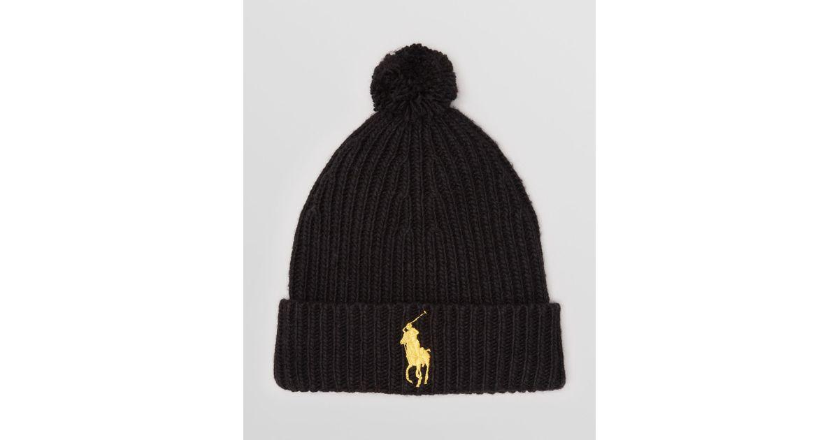 f51dc0c3df0 Lyst - Ralph Lauren Polo Big Pony Rib Cuff Pom Pom Hat in Black for Men