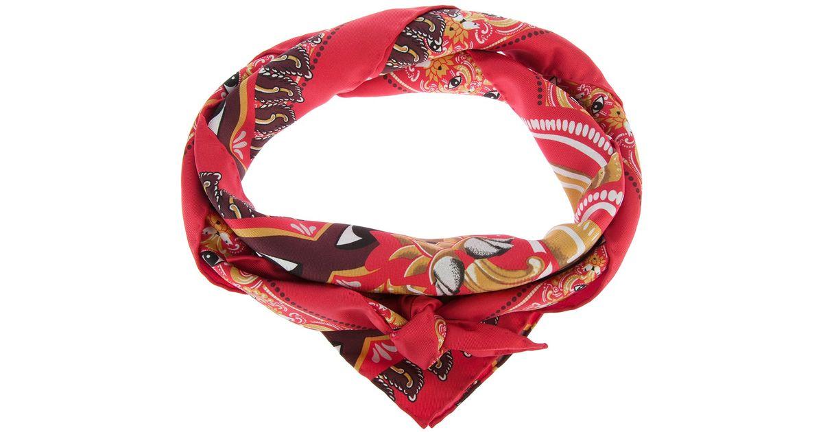 5e6736de56a Lyst - KENZO Eye Print Scarf in Red