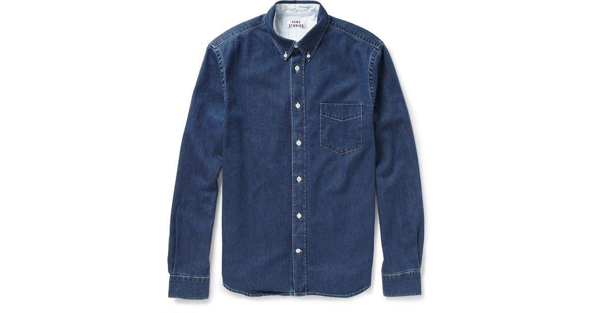 336e1f0fe9 Acne Studios Isherwood Denim Shirt in Blue for Men - Lyst