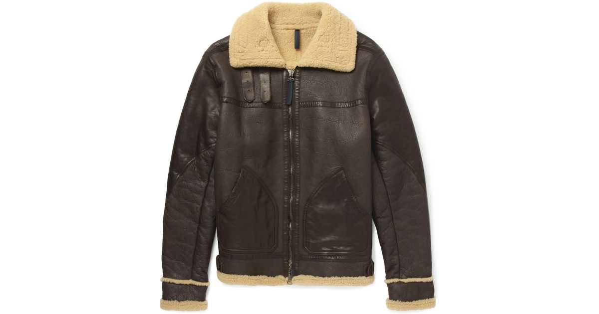 Belstaff Gsr Shoreham Shearling-Lined Leather Bomber Jacket in ...