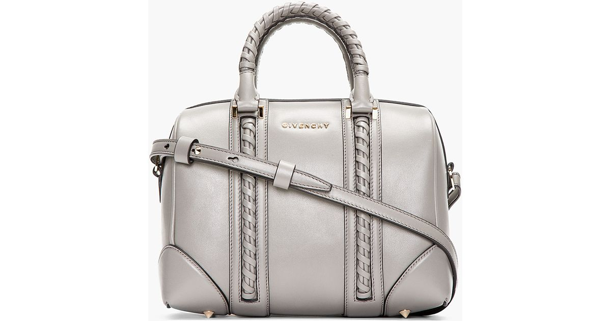 5cfee7bda16 Lyst - Givenchy Grey Braided Leather Lucrezia Small Duffle Bag in Gray