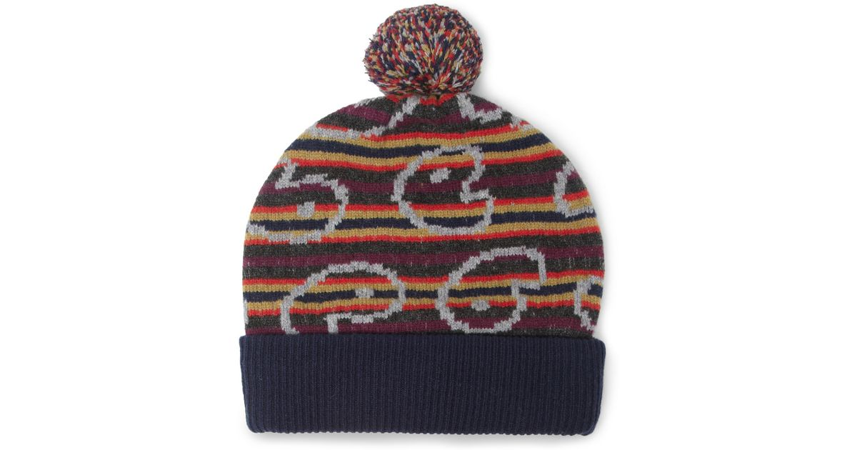50346535816 Lyst - Marc By Marc Jacobs Patterned Merino Wool Beanie Bobble Hat in Red  for Men