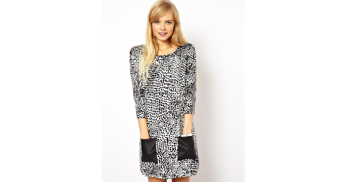 5b15d0dba4a83 ASOS Asos Knit Dress in Leopard with Leather Look Pockets in Black - Lyst