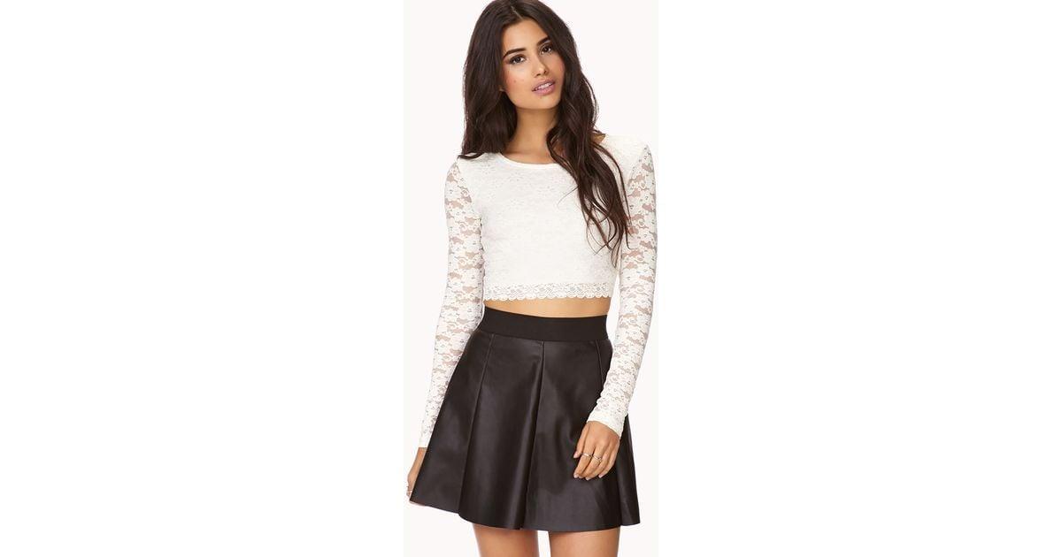 online here various design 2019 real Forever 21 Black Edgy Faux Leather Skater Skirt