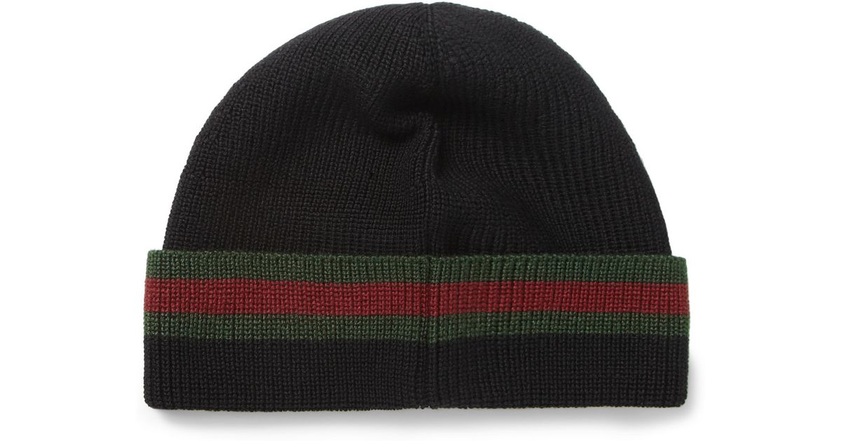 5cd3767f1a6 Gucci Wool and Silkblend Beanie Hat in Black for Men - Lyst