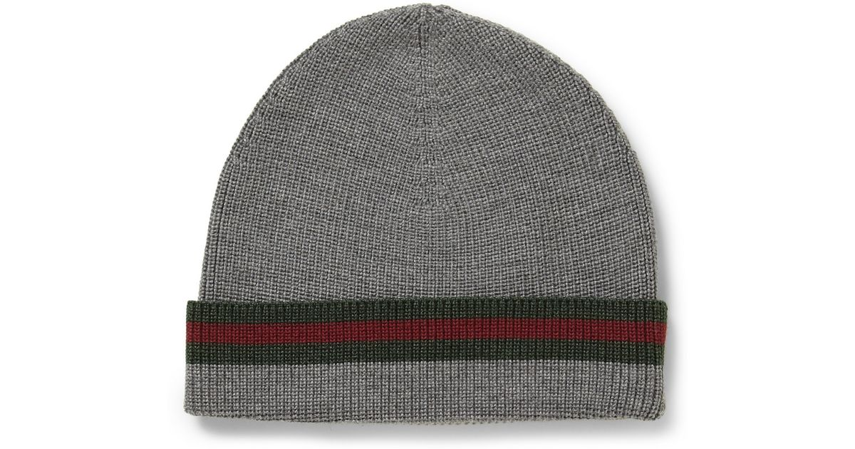 a49629bcd9930 Gucci Striped Wool and Silkblend Beanie Hat in Gray for Men - Lyst