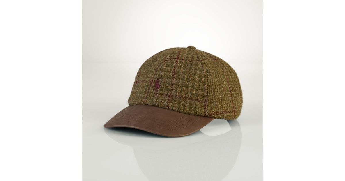fa8ed64c1 Polo Ralph Lauren Tweed Leather Sport Cap in Natural for Men - Lyst
