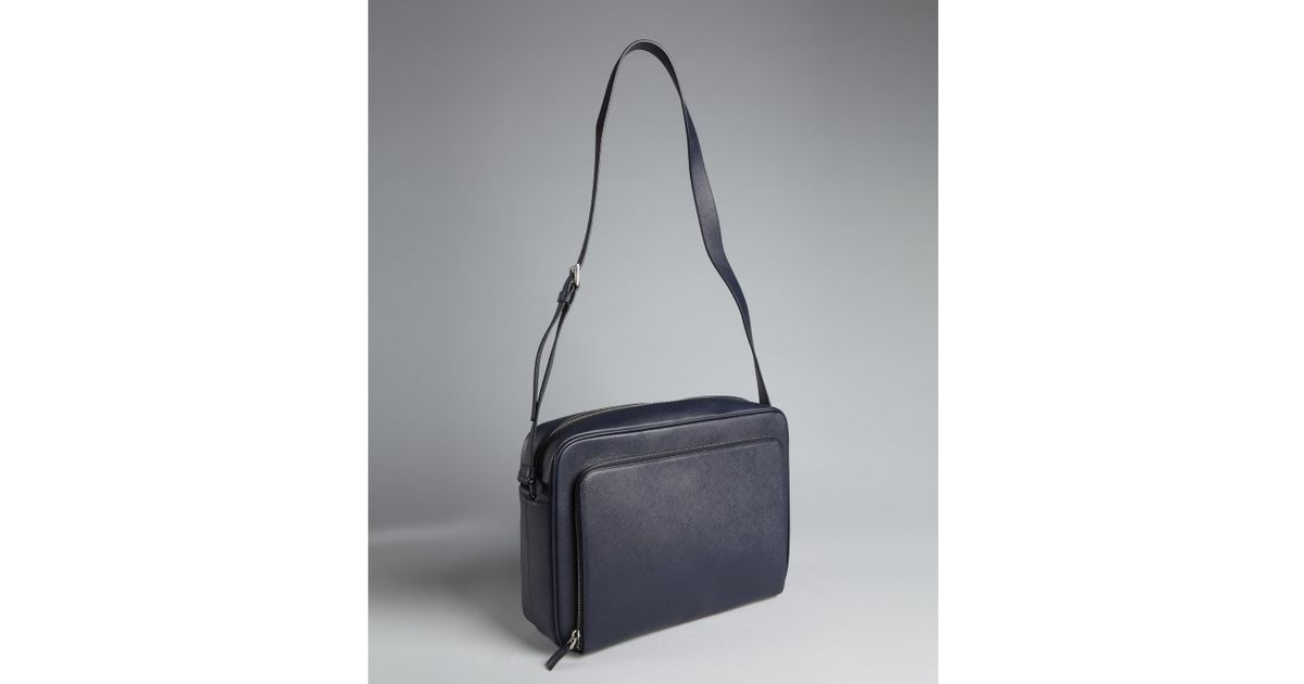 ... black 23242 0959c d211c  low price prada baltic saffiano leather ipad messenger  bag in blue for men lyst 2c31a 01457 5846f625376bf