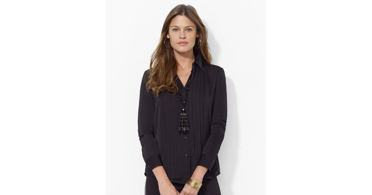 5ae48b3dd4dd6 Lyst - Lauren by Ralph Lauren Satin Tuxedo Shirt in Black