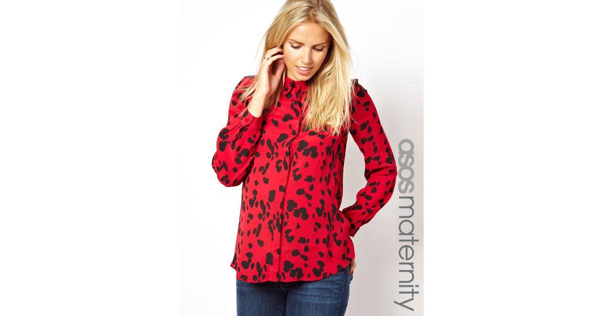 3fd301e2c6cd ASOS Maternity Shirt in Animal Print in Red - Lyst