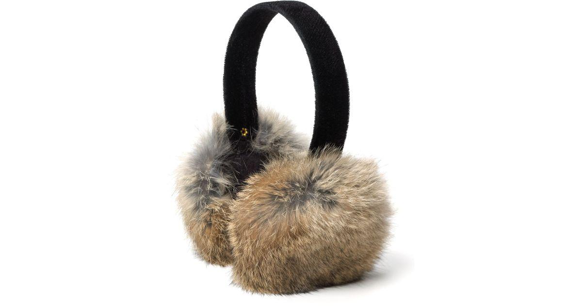 Surell Rabbit Fur Velvet Band Earmuffs In Gray Heather Gray Lyst