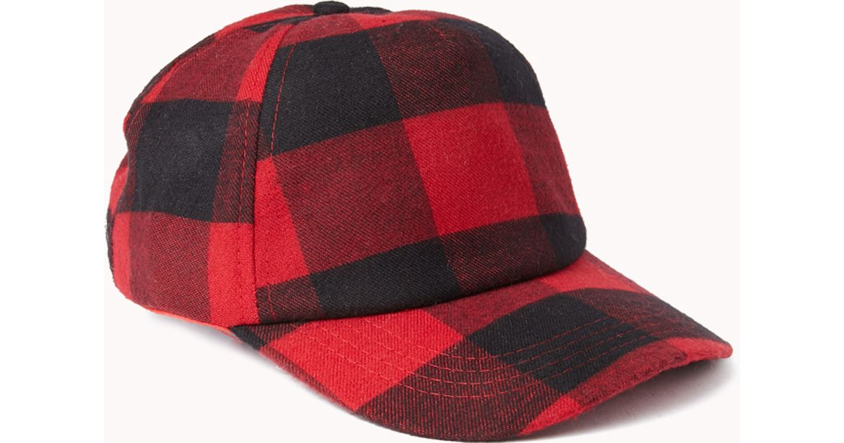 Forever 21 Grunge Plaid Baseball Cap in Red - Lyst 486a16735de