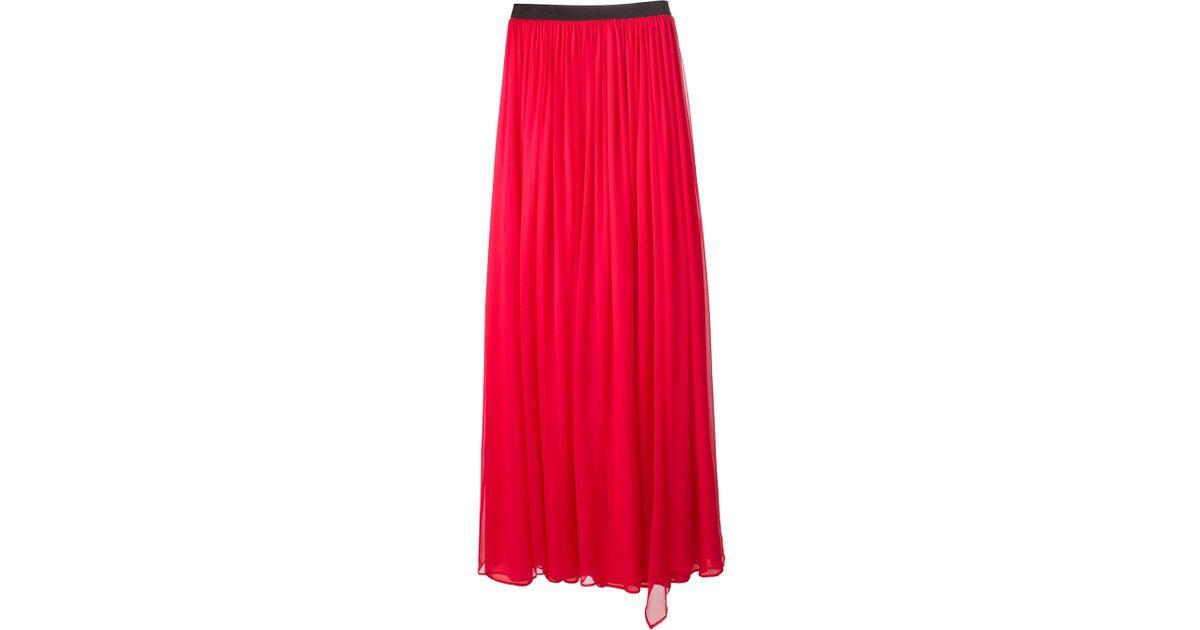 cc1e2656f Amen Sheer Maxi Skirt in Red - Lyst