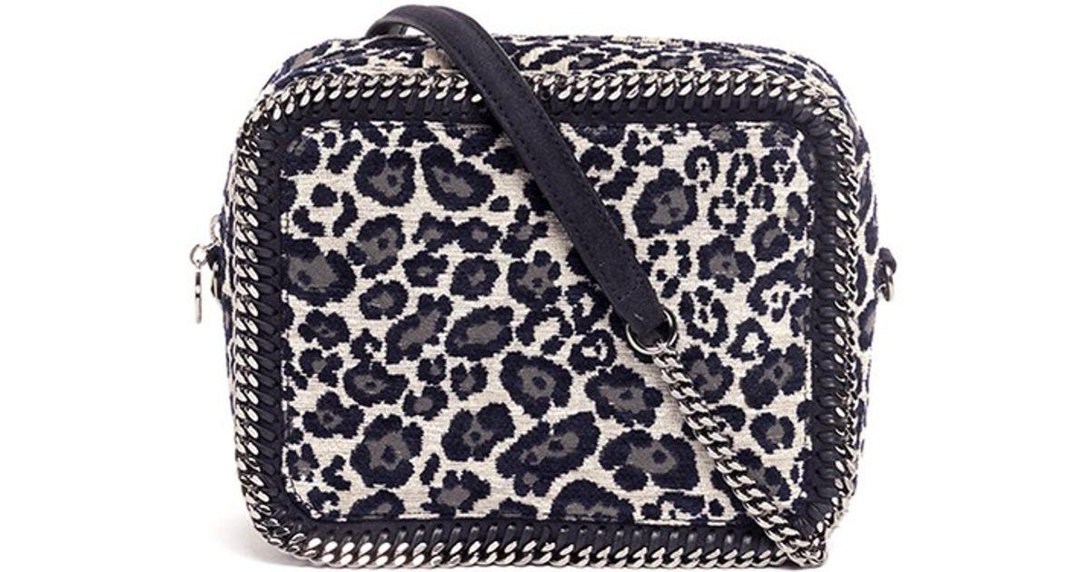 Lyst - Stella McCartney Falabella Leopard Print Velvet Crossbody Bag in Gray 9722100dbf590