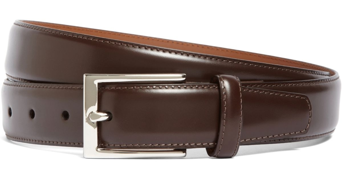 brothers silver buckle leather dress belt in brown