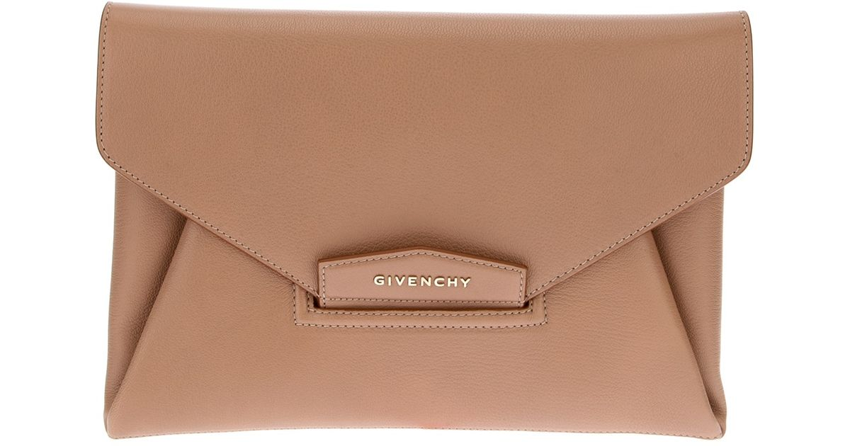 aa58f1bc638e Lyst - Givenchy Antigona Envelope Clutch in Natural