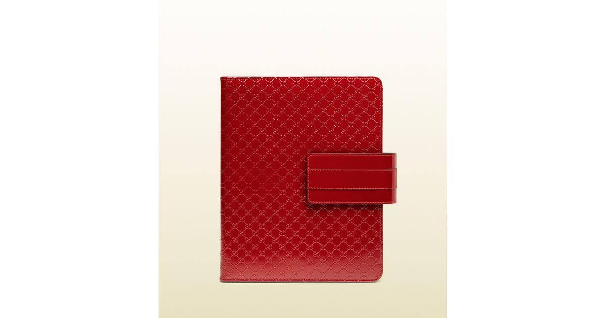 342f0932235 Lyst - Gucci Microssima Patent Leather Ipad Case in Red