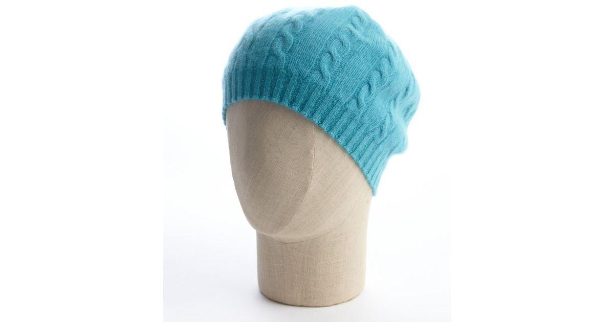6decd19e15454 Lyst - Portolano Lake Blue Cable Knit Cashmere Beret in Blue