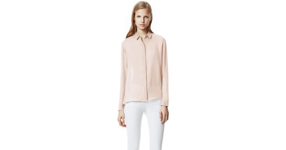 cd5ebd7aa0 Lyst - Theory Driya Shirt in Double Georgette Silk in Natural