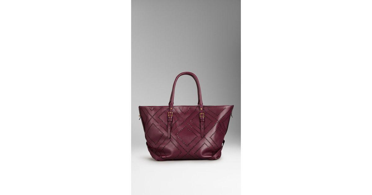 49a7e7b03b36 Lyst - Burberry Medium Brogue Detail Leather Tote Bag in Purple