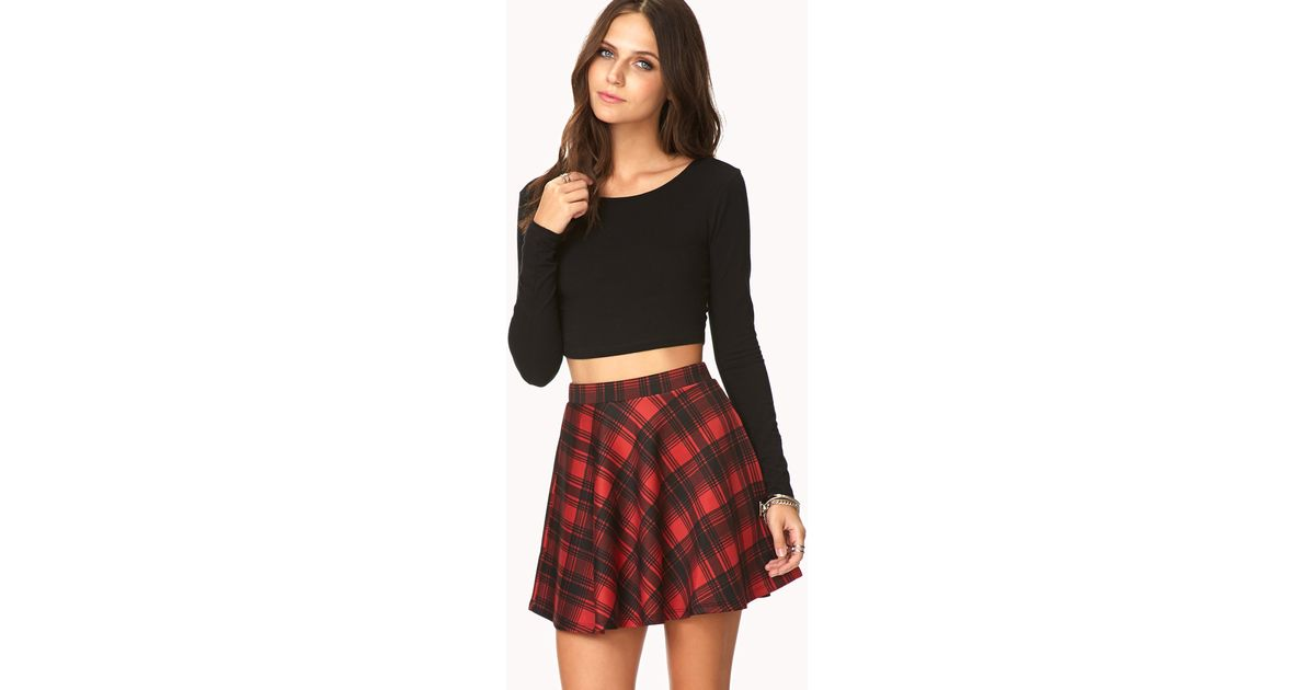cd2b8730a7d50a Forever 21 Grunge Plaid Skater Skirt in Red - Lyst