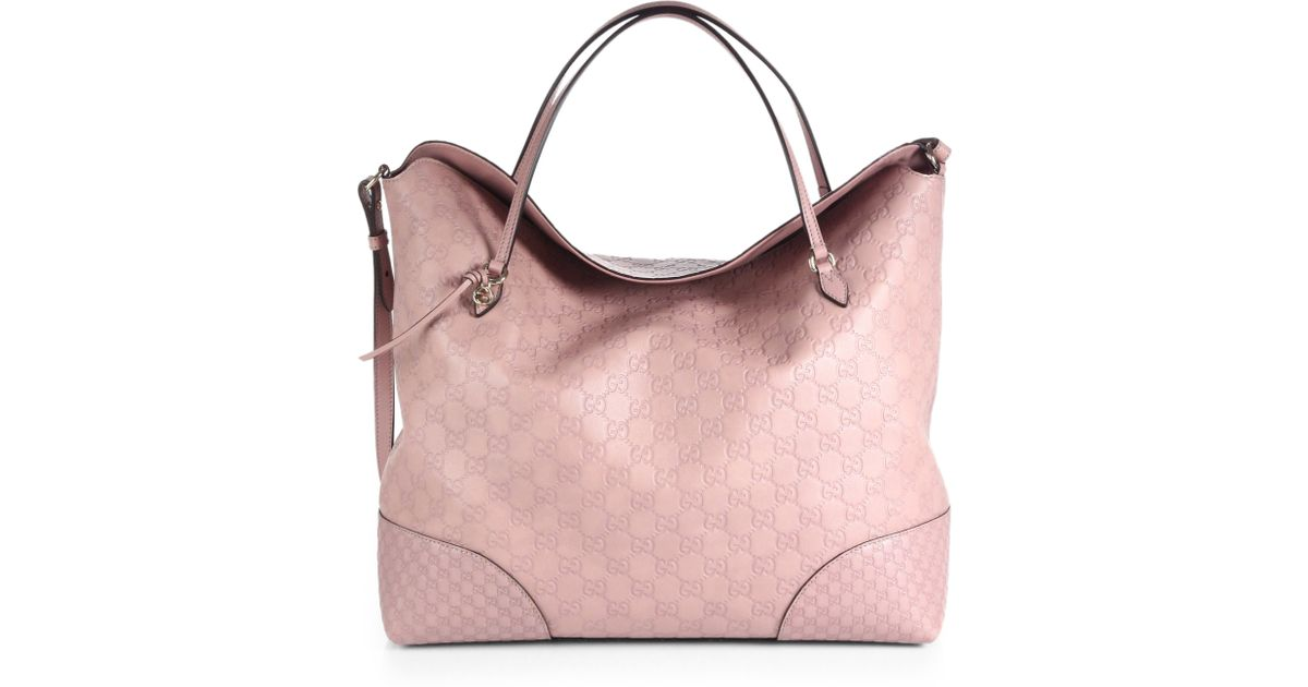 Lyst - Gucci Bree Ssima Leather Tote in Pink 8def0555521bf