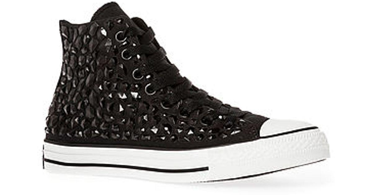 86bc2cd8ccbe Lyst - Converse The Chuck Taylor All Star Rhinestone Hi Sneaker in Black