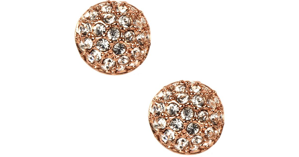 e26e8f3ac Givenchy Rose Gold Plated Crystal Button Stud Earrings in Metallic - Lyst