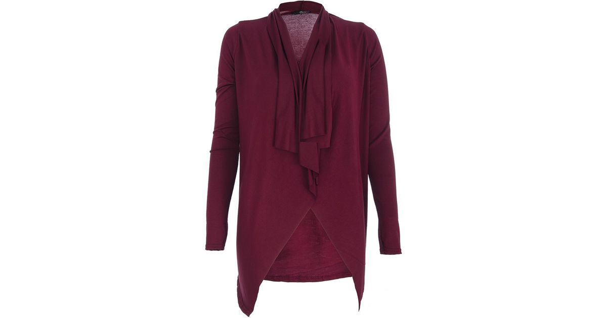 Quiz Waterfall Cardigan in Red | Lyst