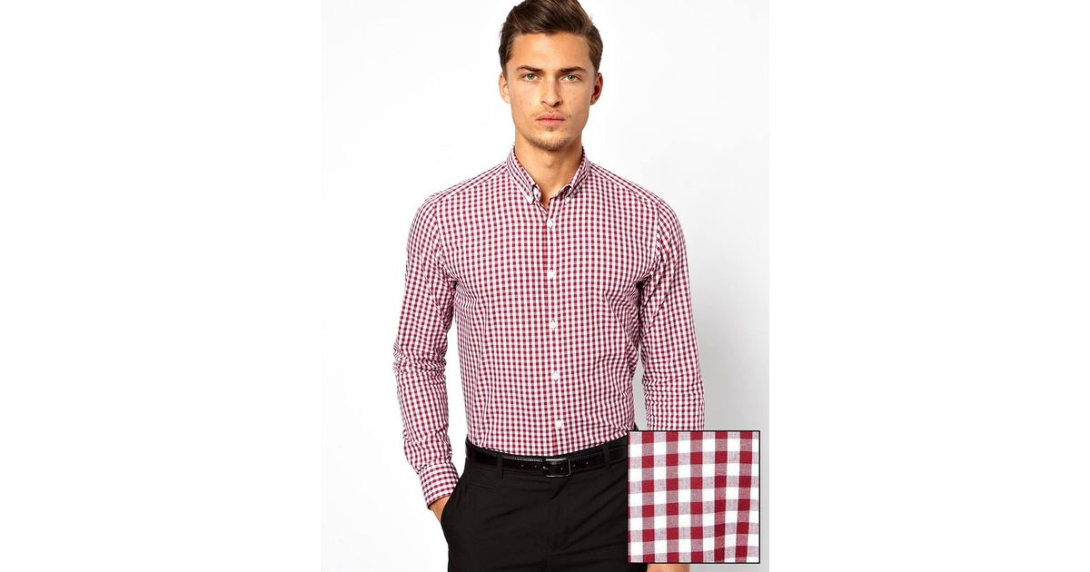 Asos Smart Gingham Check Shirt with Button Down Collar in Red for ...