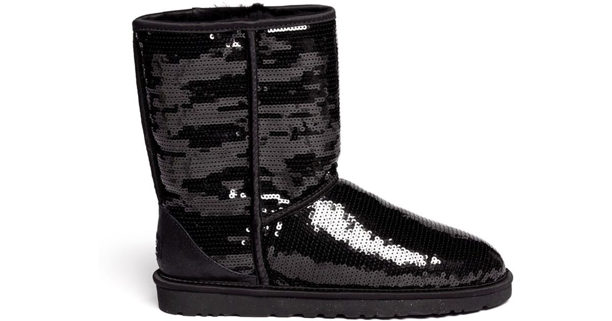 Lyst - Ugg Classic Short Sparkles Boots in Black