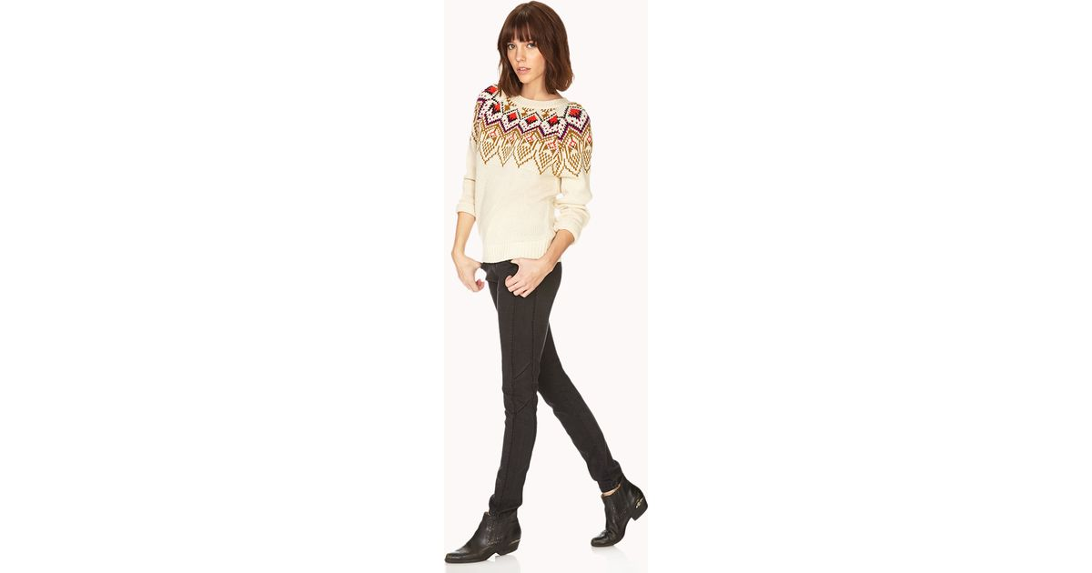 Lyst - Forever 21 Fair Isle Sweater in Natural