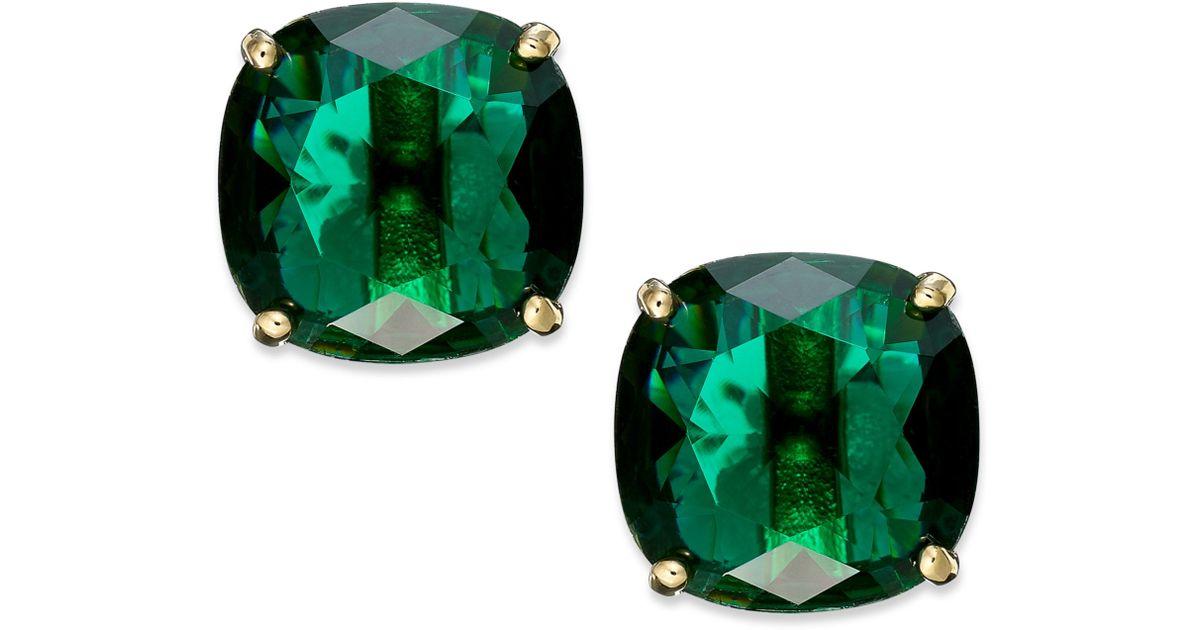 Lyst Kate Spade New York Goldtone Green Stone Square Stud Earrings In