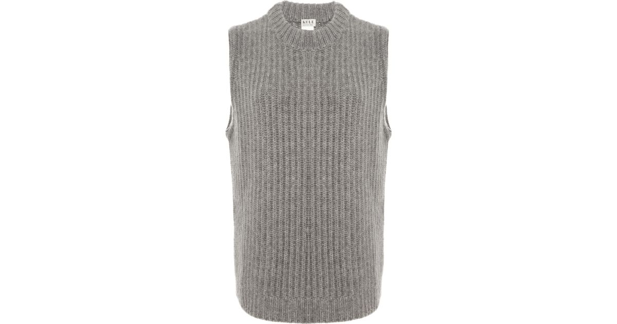 Kule Cashmere Crew Neck Sweater Vest in Gray | Lyst