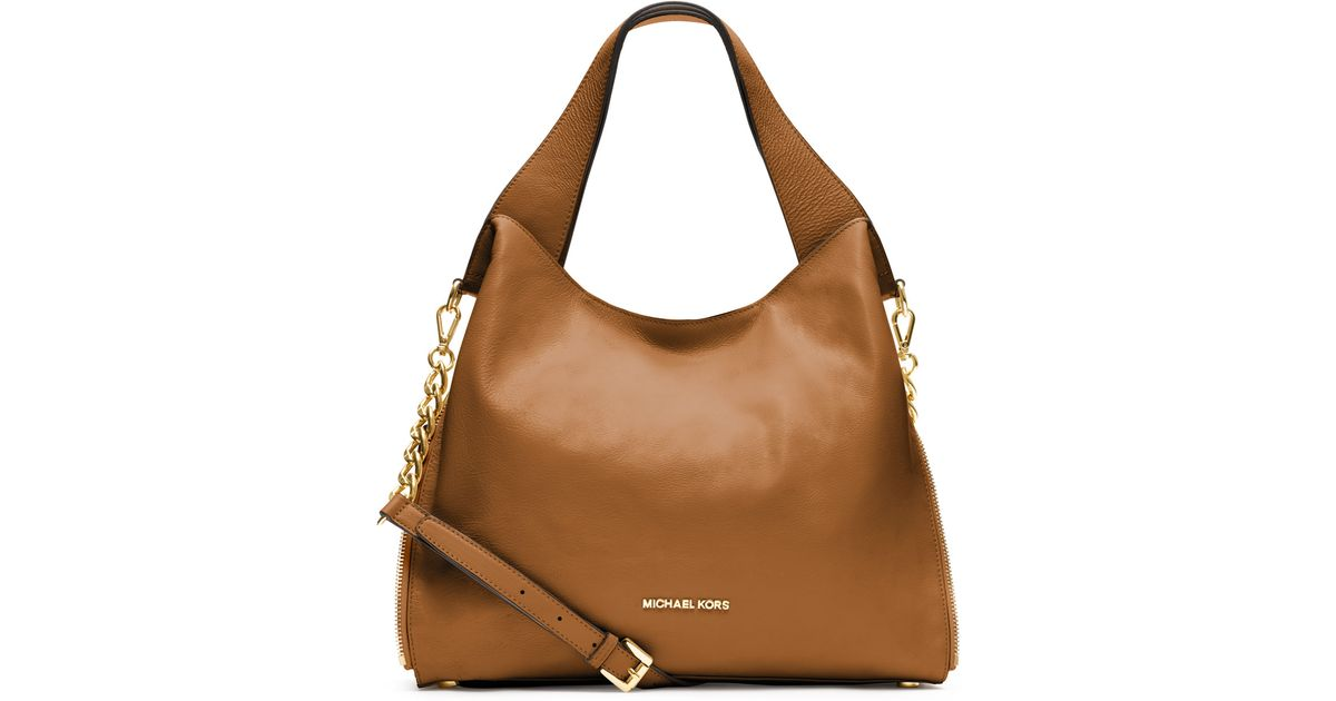 lyst michael michael kors large devon shoulder tote in brown rh lyst com