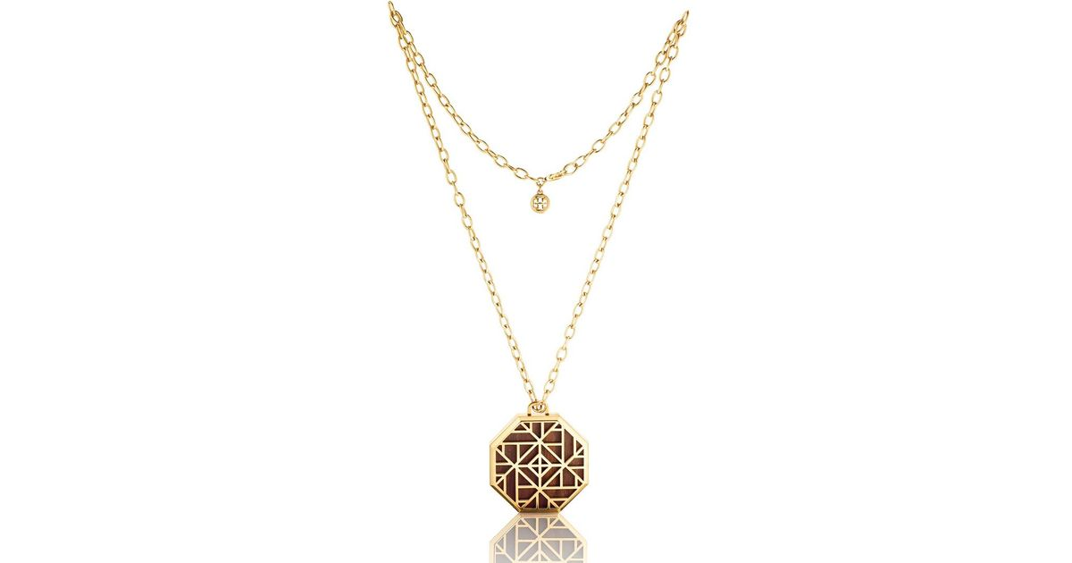 Lyst tory burch solid perfume pendant necklace in metallic aloadofball Choice Image