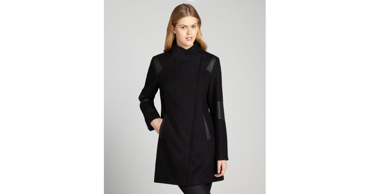 Calvin klein Black Asymmetrical Wool Coat with Faux Leather Trim