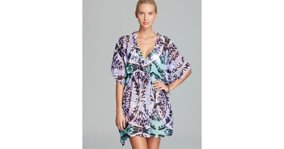 bda43109e834d Lyst - Echo Medallion Silky Butterfly Caftan Swim Coverup in Black