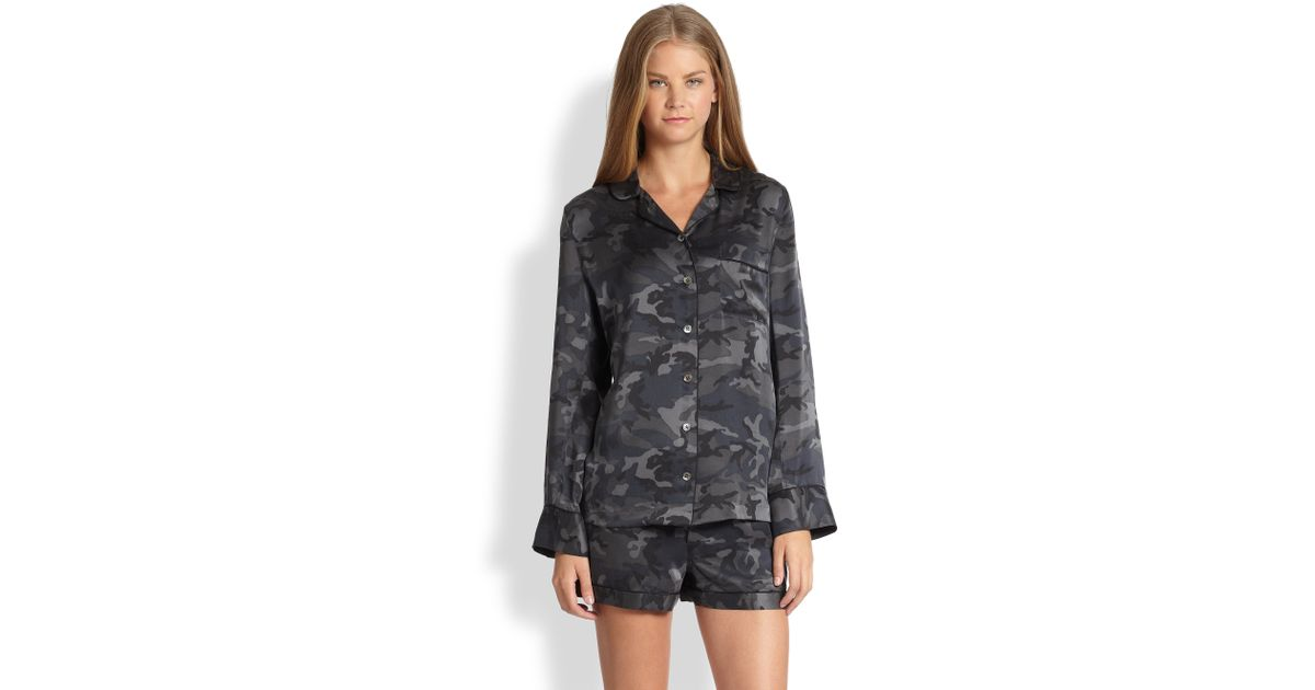 876a0ebac1 Lyst - Equipment Lillian Silk Camouflage Print Pajama Set in Blue