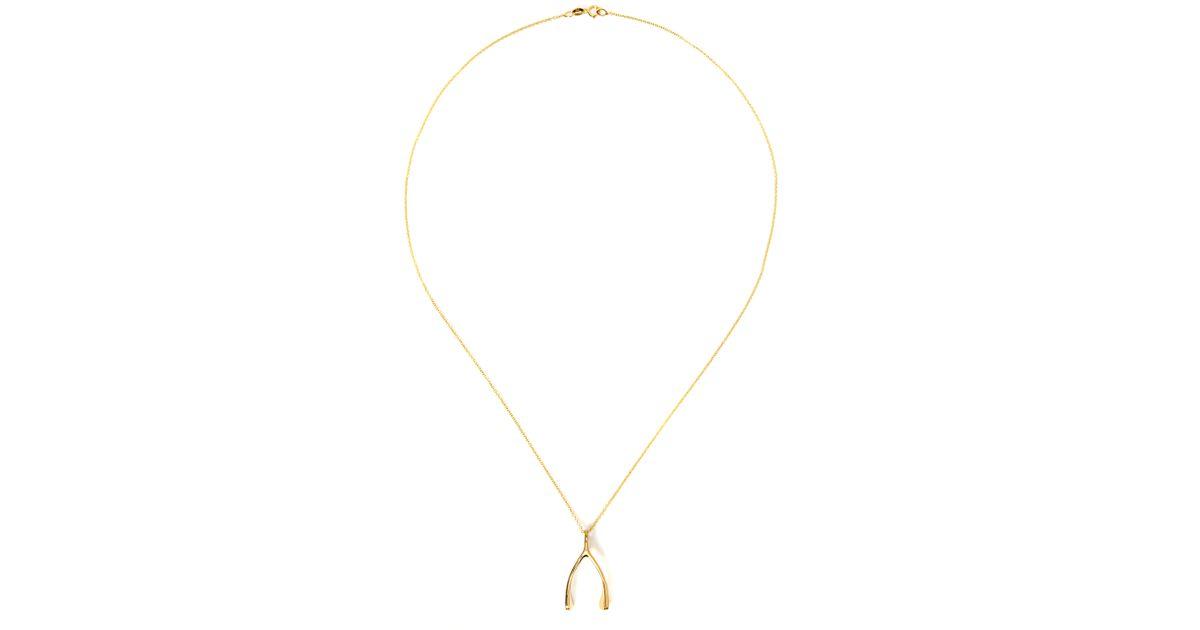 Lyst jennifer meyer 18k yellow gold wishbone necklace in metallic aloadofball Image collections