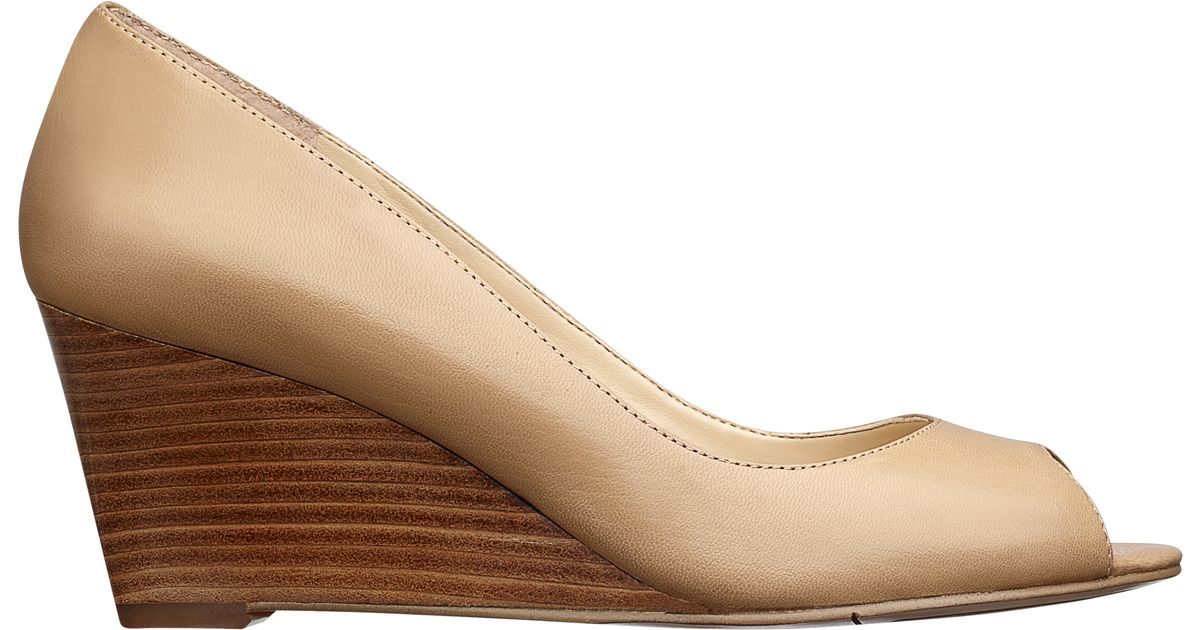 b3cfa9a330f1 Lyst - Nine West Powersurge Peep Toe Wedge Pump in Brown