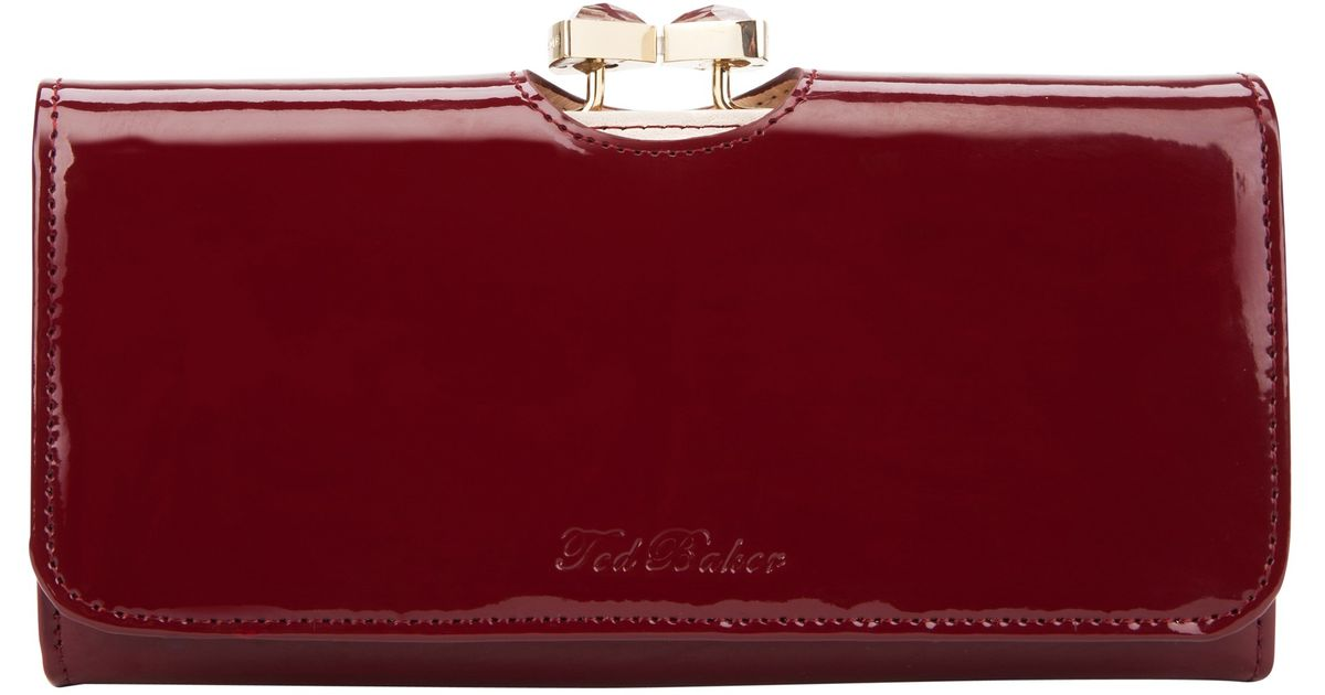 205f6bdd3 Ted Baker Titiana Crystal Bow Bobble Patent Matinee Purse in Red - Lyst