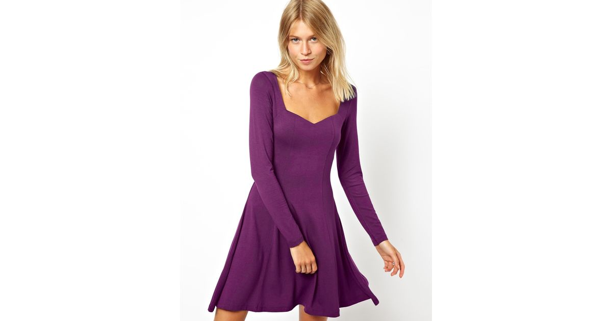 Free people Dress with Sweetheart Neck and Long Sleeve in Purple ...