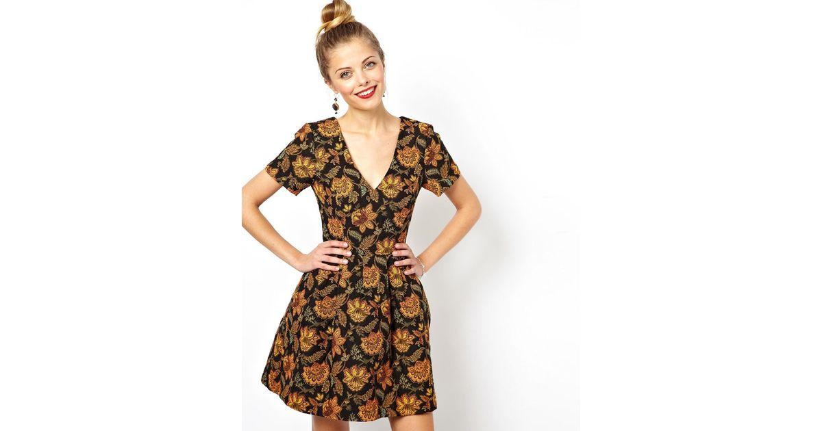 Lyst - ASOS Skater Dress With V Neck In Floral Jacquard 8bdcdded6