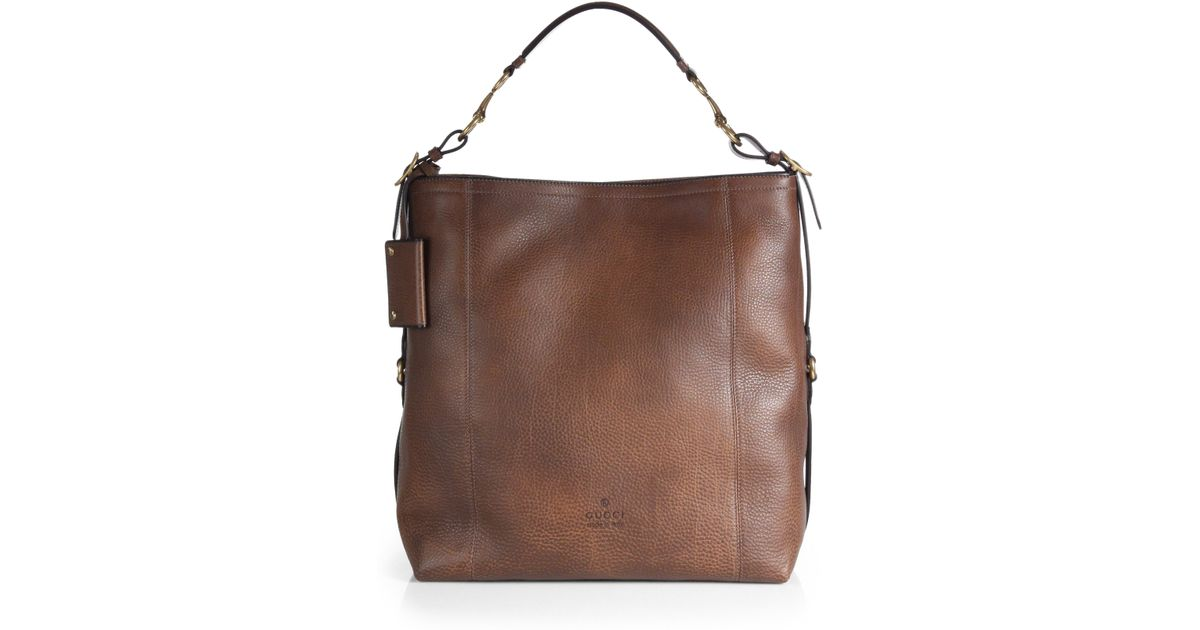 Lyst - Gucci Harness Leather Hobo in Brown 0ec2059298230