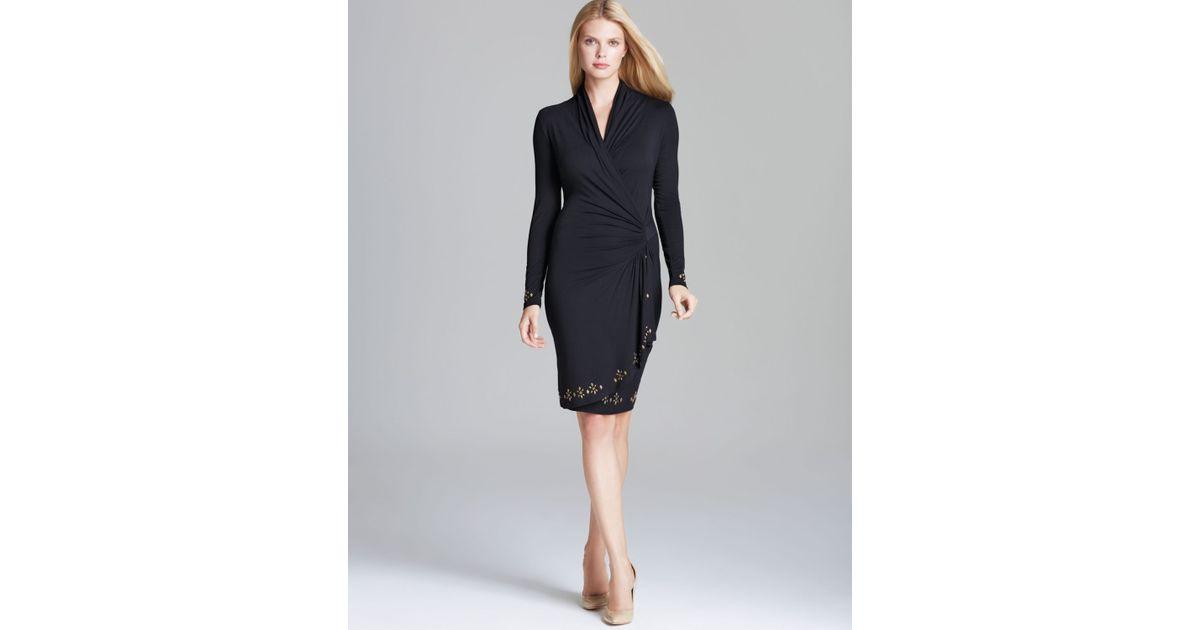 Lyst Karen Kane Royal Flush Cascade Studded Wrap Dress In Black