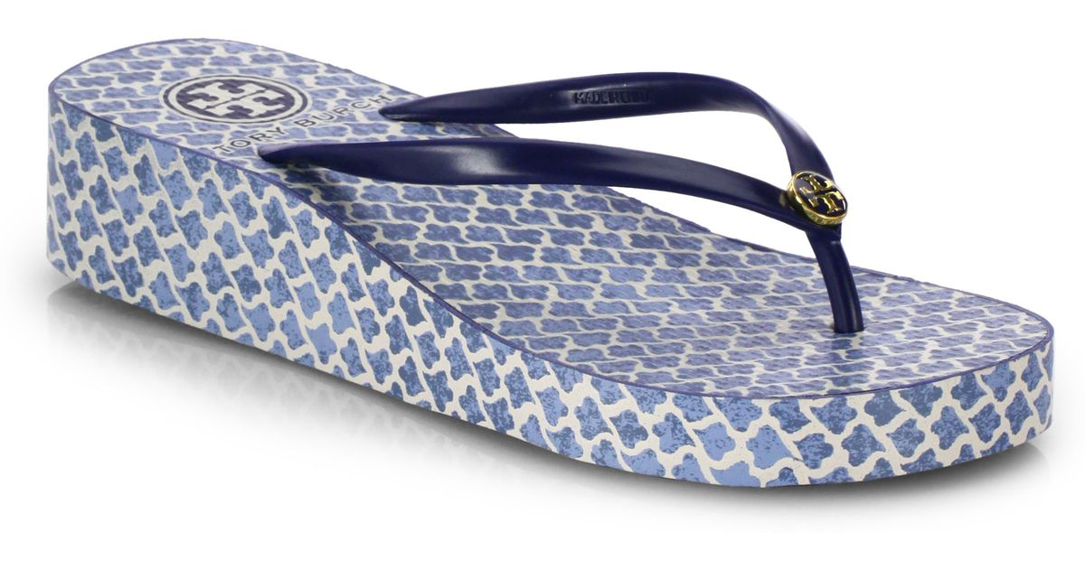 - Tory Burch Thandie Wedge Flip Flops In Blue Lyst