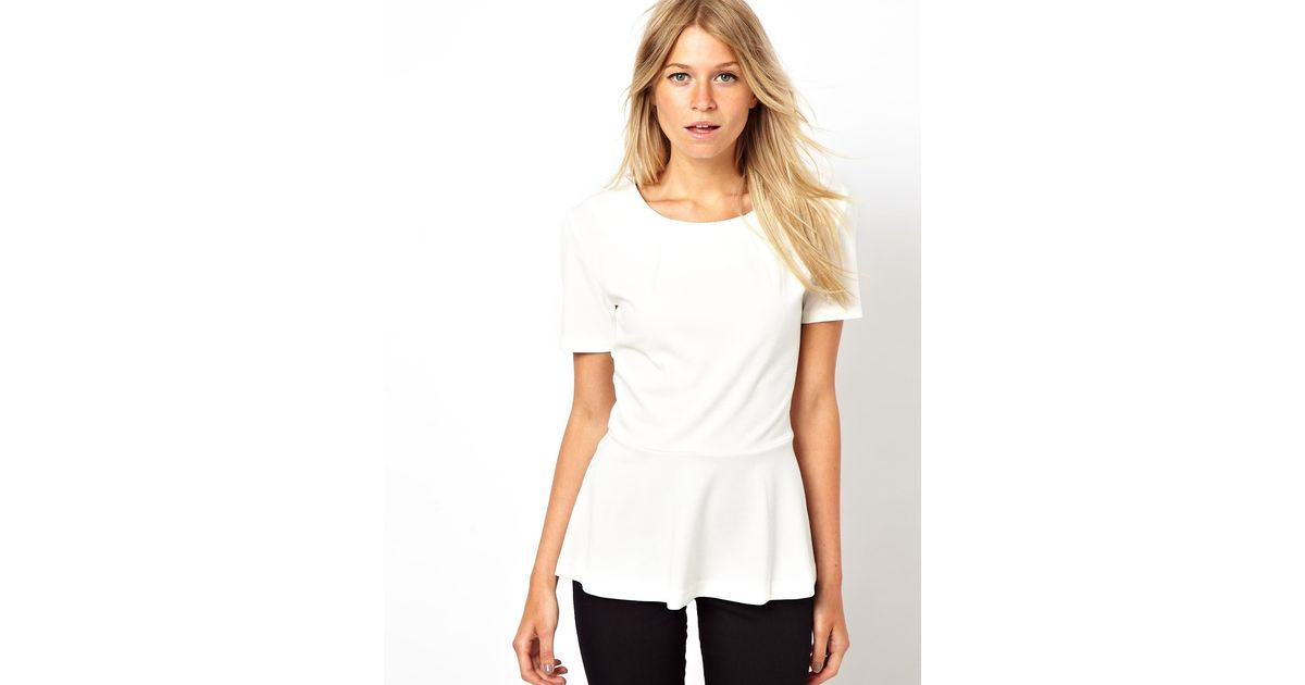 13ebb0e3bec58 Lyst - ASOS Mango Structured Peplum Top in White
